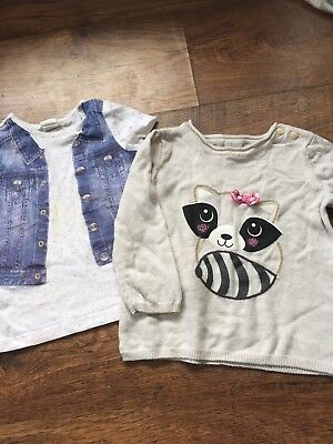 H&M Baby's Girl Jumper & T-Shirt Age 9-12 Months