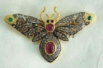 Antique Look Rose Cut Round Diamond Silver Butterfly Brooch/Pin/ Pendant @Jewels