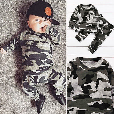05d360acebfd7 2PC NEW NEWBORN Infant Kids Baby Boy Clothes Army T-shirt Tops+Pants  Outfits Set