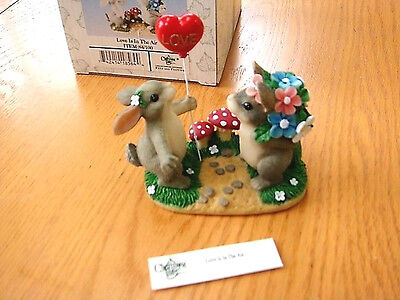 "Fitz & Floyd Charming Tails ""love Is In The Air"" Balloon, Bunny Rabbits Figurine"