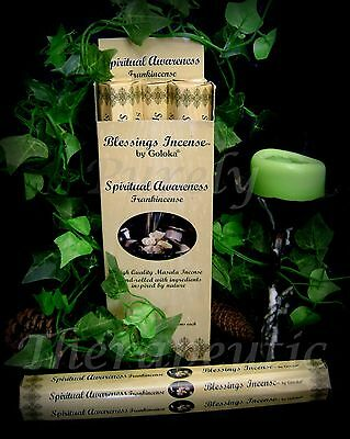 SPIRITUAL AWARENESS BLESSINGS INCENSE STICKS Goloka 18g Hex Frankincense Wicca