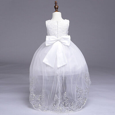 Kids  Flower Girl Bow Princess Dress for Girls Party Wedding Bridesmaid Gown K80