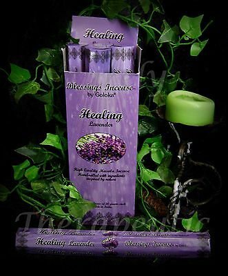 ~HEALING BLESSINGS INCENSE STICKS~Goloka~18g Hex~Lavender~Wicca Pagan Chakra