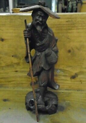 Stunning Antique / Vintage Oriental Carved Wooden Figure - Winking Man