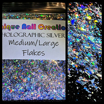 Med/Lg FLAKES✨LAZER HOLO SILVER~Solvent Resistant◾Nail Art•Face•Festival•Crafts