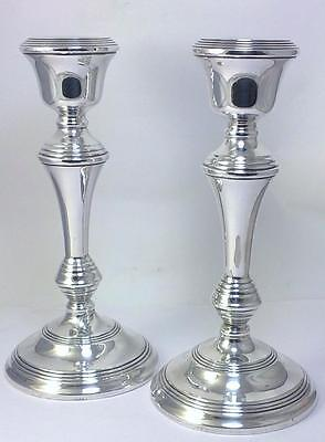 "Pair of Vintage hallmarked Sterling Silver 20.6cm (8"") Candlesticks – 1963"
