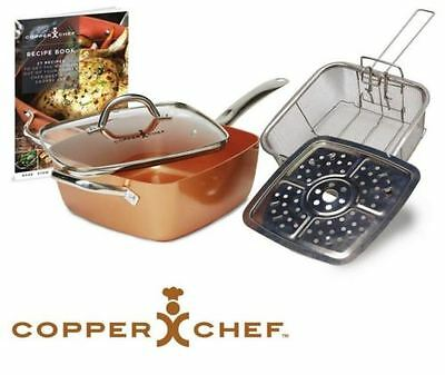 COPPER CHEF Non Stick Deep Sided Square Pan Kit 5pc, 24cm Frying Pan *FREE POST