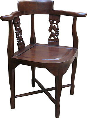 Solid Mahogany Antique Reproduction Corner Chair CHR024