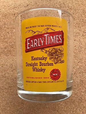 Early Times Kentucky straight Bourbon Whiskey Low Ball on the Rocks Bar Glass