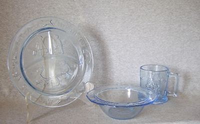 Humpty Dumpty child size blue glass plate/bowl/cup~unused/exc,cond.