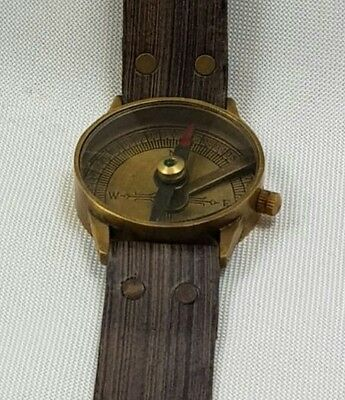Nautical Maritime Brass Vintage compass Wrist Watch - Compact Marine Compass