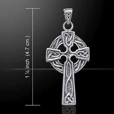 Celtic Knotwork Cross Sterling Silver Pendant by Peter Stone Unique Fine Jewelry