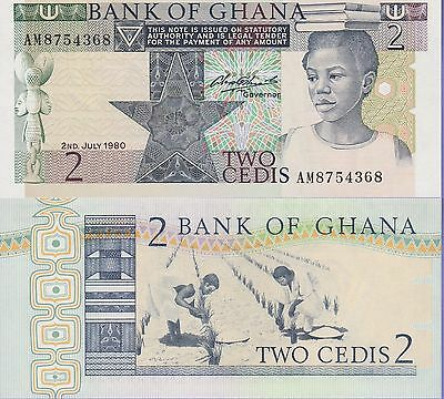 Ghana 2 Cedis Banknote 2.7.1980 Uncirculated Condition Cat#18-C-4368