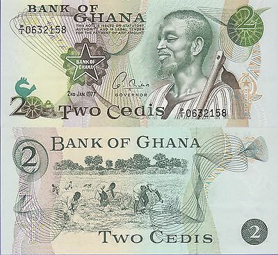 Ghana 2 Cedis Banknote 2.1.1977 Uncirculated Condition Cat#14-C-2158