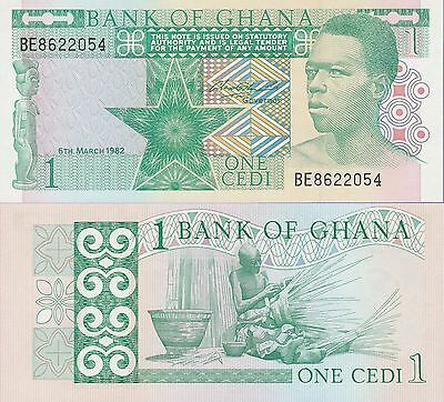 Ghana 1 Cedis Banknote 6.3.1982 Uncirculated Condition Cat#17-B-2054