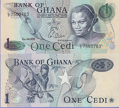 Ghana 1 Cedis Banknote 2.1.1976 Uncirculated Condition Cat#13-C-0783