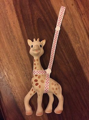 Baby Toy Or Sophie The Giraffe Harness Toy Saver White Pink Spotty Ribbon Spots