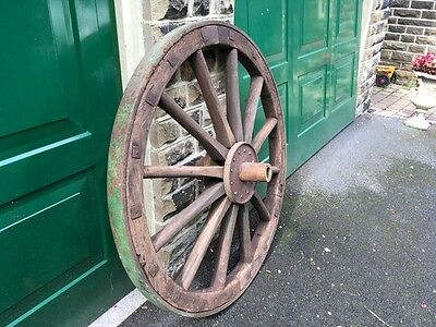 Very old large French antique cart / wagon wheel 120 cm 50kg