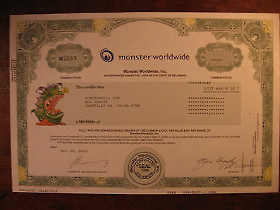 Monster Worldwide Stock Certificate(Amazon/netflix/facebook/google)