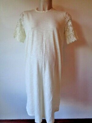 Asos Maternity Cream Marl Lace Trim 1/2 Sleeve T-Shirt Dress Size 10 Bnwt