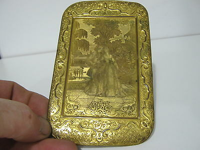 ANTIQUE FRENCH GILT METAL ENGRAVED PANEL PICTURE  LOVERS Signed Faucherre Sc