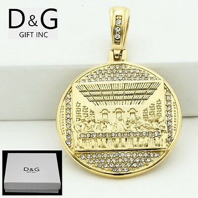 DG Men's Stainless-Steel,Gold,JESUS LAST SUPPER CZ Pendant*Unisex*Box