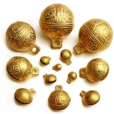 18MM 50PCS Tibetan Brass Bells Beads Craft Tiger's head Small Metal Ethnic
