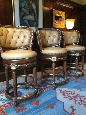 Set of Two French Antique Louis XV Style Mahogany Leather Bar Stools