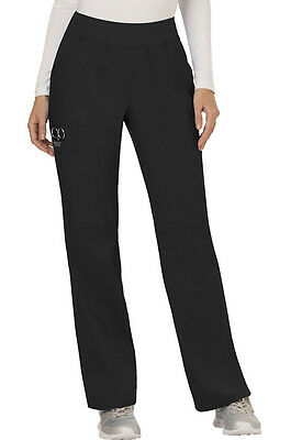 Scrubs Cherokee Workwear Mid Rise Pull On Petite Pant WW110P BLK Black Free Ship