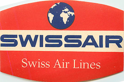 SWISSAIR ~SWISS AIRLINES~ Great Old Luggage Label, c. 1955