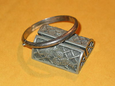 Vintage Sterling Hollow Engraved Childs Bangle