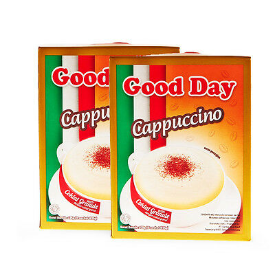 2 Boxes Good Day Cappuccino 5x25g With Choco Granule Instant Coffee Perfect