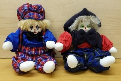 """2 Collectible Clown Dolls Porcelain Head with Clothing 9"""""""