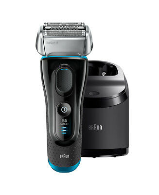 New Braun Series 5 Wet/Dry Electric Shaver Silver/Black Plus Clean & Charge Stat