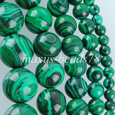 Synthetic Malachite Round stone Loose Beads 4MM 6MM 8MM 10MM 12MM 15.5'' MBG132