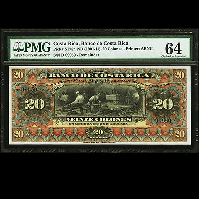 Banco de Costa Rica 20 Colones 1901 1914 Remainder PMG 64 Choice UNC P-S174r