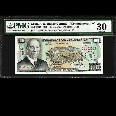 Costa Rica 100 Colones 1971 50th Anniversary of Independence PMG 30 VF P 244