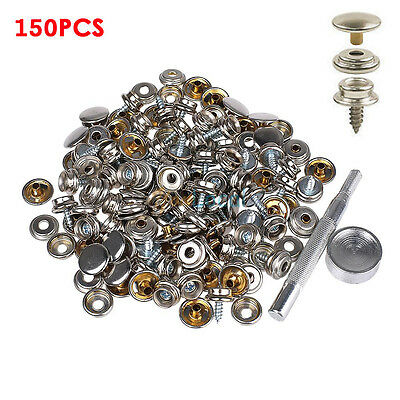 150PCS Stainless Steel Boat Marine Canvas Fabric Snap Cover Button Socket JJET