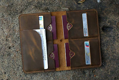Personalized real distressed leather family 4 passport travel wallet cover case