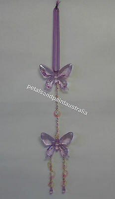 New Mobile with 2 Purple Butterflies, Beads, Ribbon, Chain, Butterfly Decoration