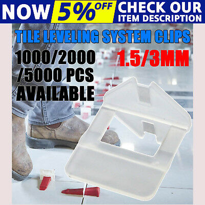 600/1000/2000x Tile Leveling System Clips Levelling Spacer Tool Wall Floor 1.5mm