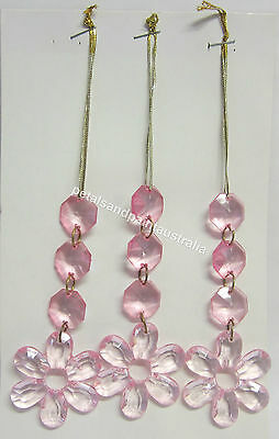 3 Pink Bead & Flower Mobile or Suncatcher Beaded Drops Great Party Decoration