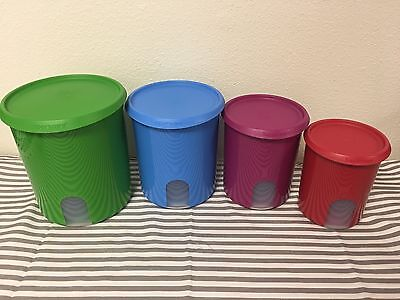 Tupperware One Touch Canister Set of 4 Blue, Green, Purple, Red 18, 13, 8, 5 Cup