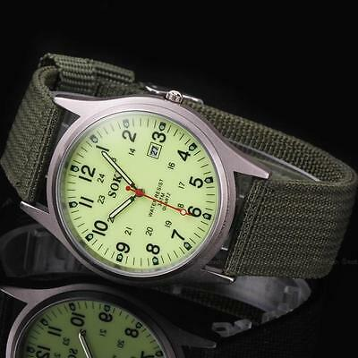 AU Military Sport Mens Quartz Army Date Analog Luminous Canvas Strap Wrist Watch