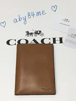 *NWT* Coach Men's Sport Calf Leather Passport Case Holder 93426 Saddle