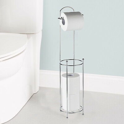 Chrome Plated Free Standing Toilet Paper Roll Holder Wire Frame Bathroom Shelf