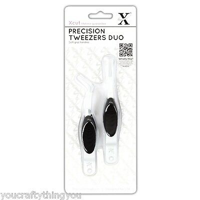 Xcut Precision Tweezers Duo Pack Card Making Tool for Peel Offs Stickers - B93
