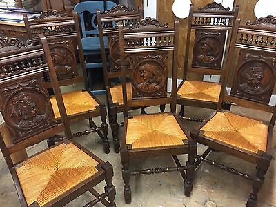 Set of 6 Vintage Hand Carved Oak French Dining Chairs