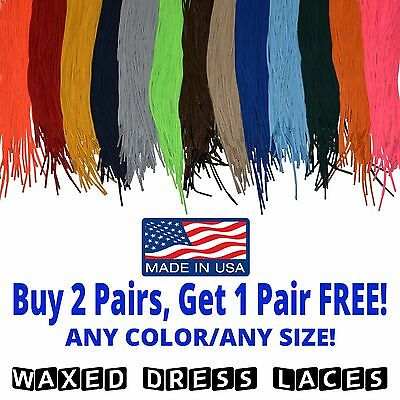 WAXED Dress Lace Round Shoelaces - 21 28 30 36 Inches - Premium - Made in USA!