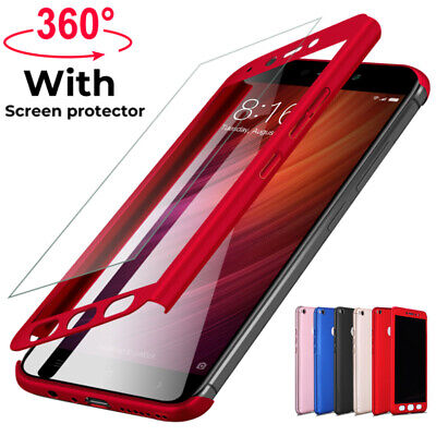 360° Full Cover Case + Tempered Glass For Xiaomi Redmi 4X 5 Plus 6A Note 5 6 Pro